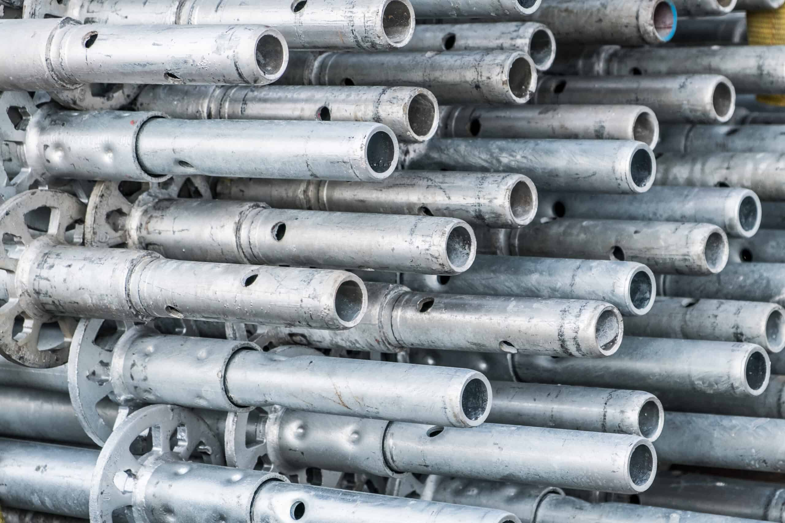 Construction Industry Concept Background Scaffolding Parts Closeup